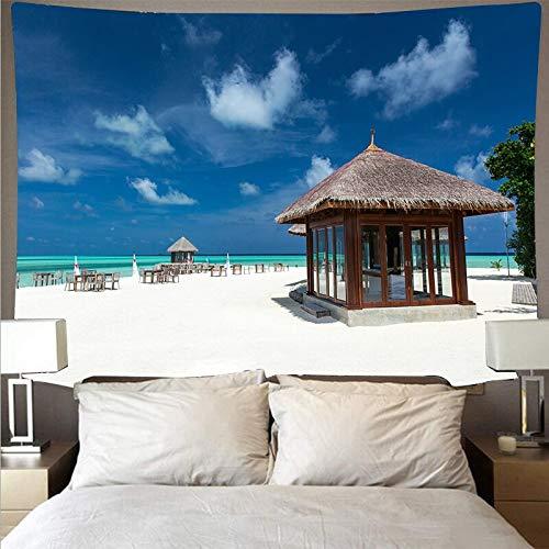 JXWR Hermoso mar Playa Cielo Azul Paisaje Tapiz poliéster paño de Pared Arte Tapiz Hippie Colgante de Pared Toalla de Playa 150x100 cm