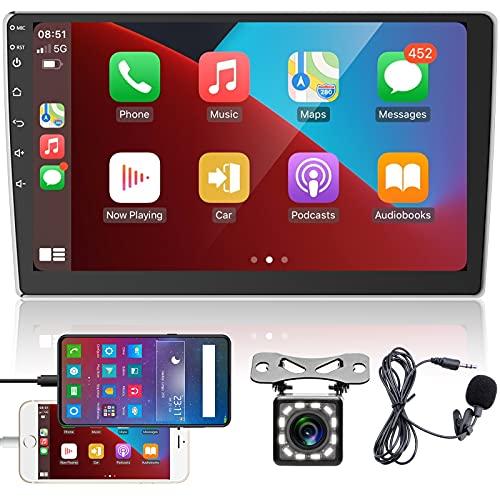 Radio de Coche 2 DIN Pantalla táctil HD de 9 Pulgadas, CarPlay y Android Auto Reproductor Multimedia Universal para automóvil con Bluetooth Radio FM USB con cámara de visión Trasera + micrófono