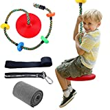 Colorful Disc Swing Seat Set with Tree Strap + Hanging Strap + Tree Protectors, Backyard Climbing Rope for Kids Outdoor Tree Backyard Playground Swing