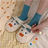 B/H Andar por casa,Zapatillas de algodón Lindas de Dibujos Animados, Zapatos caseros de Felpa Antideslizantes-B_39-40,Jardín Sandalias