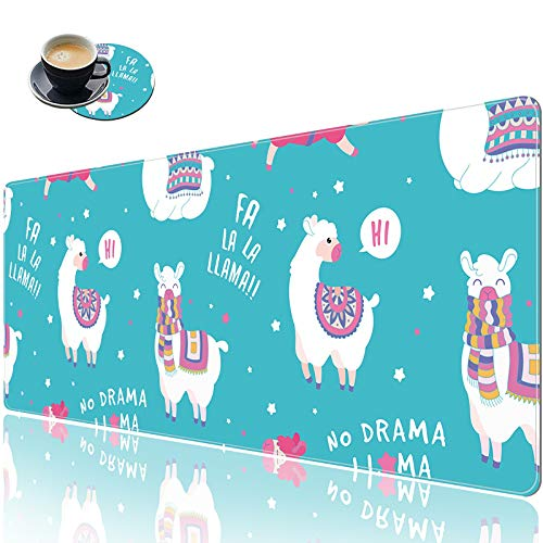 Extended (31.5x11.8 Inch) XXL Gaming Mouse Pad, Large Full Desk Mouse Pad with Stitched Edges, Cute Decor Keyboard Pad Desk Mat for Desktop, Big Mouse Pad Gaming Ofiice Home School - Animal Llama