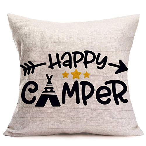 WXM Throw Pillow Covers Happy Camper Lettering Decorative Pillow Covers Cotton Linen Square Pillowcase Cushion Covers for Home Sofa Couch 18' x 18' (Happy Camper-1)