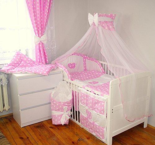 Baby's Comfort 24tlg BABY BETTWÄSCHE BETTSET MIT STICKEREI (12 FARBEN) (fürs BABYBETT 140/70 cm, 1)