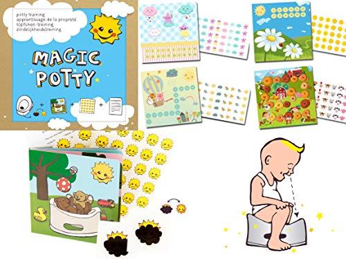 Töpfchentrainer Magic Potty / 4 x Belohnungssystem Kleinkinder/damit der Wechsel von Windel zum Töpfchen besser klappt