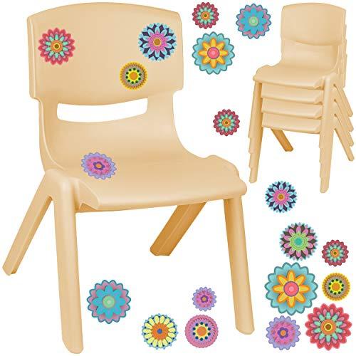 alles-meine.de GmbH Kinderstuhl / Stuhl - Motivwahl - Holz Farben - beige + Sticker - Bunte Blumen & Blüten - inkl. Name - Plastik - bis 100 kg belastbar / kippsicher - für INNEN..