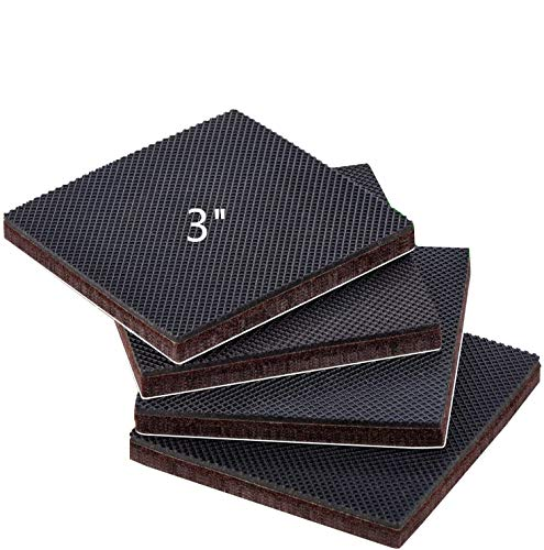 """Anti Slip Furniture Rubber Pads 3"""" 4pcs Square Non Slip Furniture Pads Hardwood Sofa Bed Stopper Self Adhesive Non Skid 7mm Thick Furniture Protector for Hardwood Floor"""