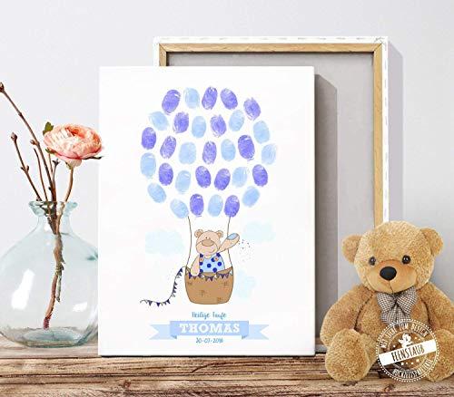 Gästebuch für Taufe, Baby-shower, Baby-party, Geschenk-idee, Leinwand für Fingerabdrücke, Bär