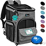 PetAmi Pet Carrier Backpack for Small Cats, Dogs, Puppies | Airline Approved | Ventilated, 4 Way Entry, Safety and Soft Cushion Back Support | Collapsible for Travel, Hiking, Outdoor (Heather Gray)