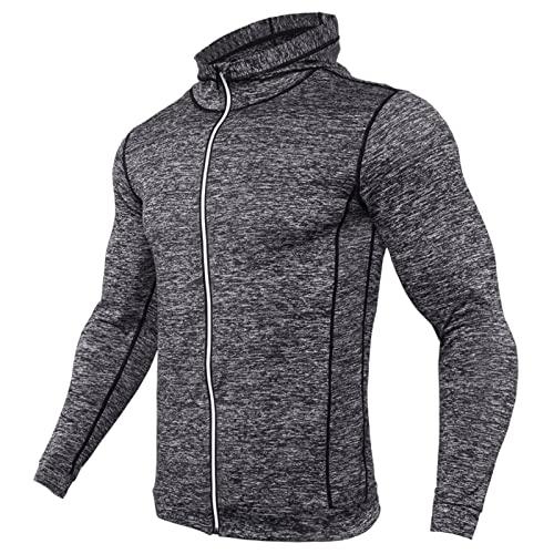 BIBOKAOKE Camiseta deportiva para hombre, de manga larga, de secado rápido, con capucha, transpirable, para gimnasio, correr, con cremallera, Grau48., XXXL