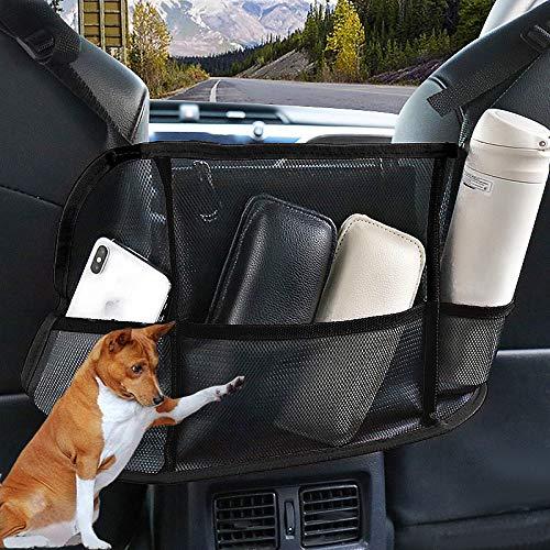 Car Mesh Organizer, KYW Car Net Pocket Handbag Holder, Barrier of Backseat Pet Kids, Car Mesh Organizer for Smaller Items.(Black)