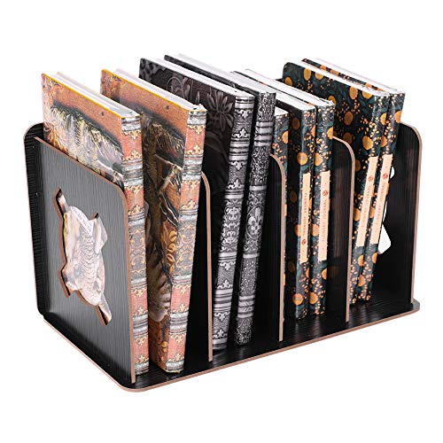 Desk Book Rack Wooden Book Ends Book Holder Stand Bookends for Book Shelf Magazine File Rack Holder Files Divider Desktop Documents Organiser CD DVD Rack Stand Display 4 Compartments Hollow