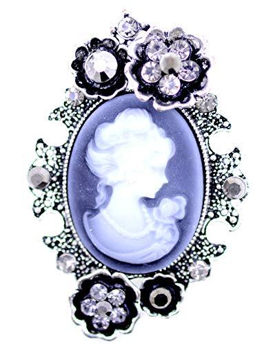 Lizzyoftheflowers Broche de camafeo estilo victoriano retro, con cristal
