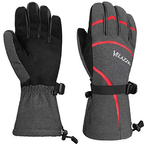VELAZZIO Eco Gray Ski Gloves - Gray Red, Size S