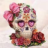 Kit de peinture diamant 5D à faire soi-même Jour des morts de fleur de crâne peinture au point de croix, broderie de strass pour décoration murale de maison, cadeau 50x50cm W2459