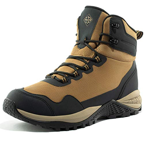Wantdo Men's High-Traction Waterproof Hiking Boots Mid Trekking Mountaineering Shoes 9.5 M US Sand