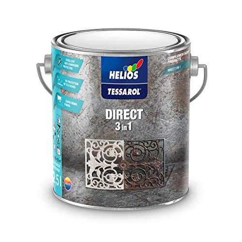 Tessarol Direct to Rust Metal Paint 3 in1, White Metal Paint, White Outdoor Paint, Weather...