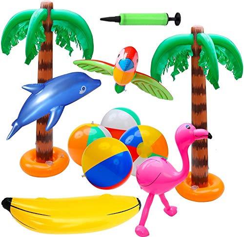 KAHEIGN 11Pz Palla Gonfiabile Fenicotteri Gonfiabili Pappagallo Banana Delfino Palloni da Spiaggia Giocattoli per Decorazioni per Feste alle Hawaii Luau Fondale per Feste - con Pompa Ad Aria
