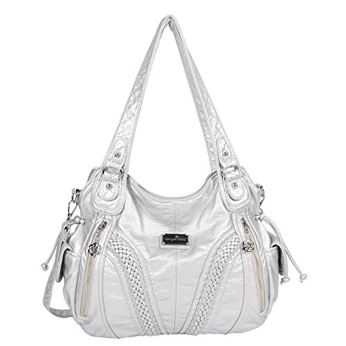 """Material: High Quality PU leather handbags shoulder tote bags; Durable and fashionable Dimension(L*W*H): Size:13.8*4.7*11.8 inches , Handle height: 10.6""""/27CM(long enough to put on shoulder), Weight: about 1.65pounds/0.75KG EXTERNAL: Zipper closure, ..."""