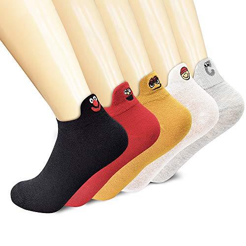 SUNWIND 5 Paar Damensocken Süße Cartoon-Socken niedliche Knöchelsocken. Stickerei-Socken mit Smiley-Gesicht, EU36-40