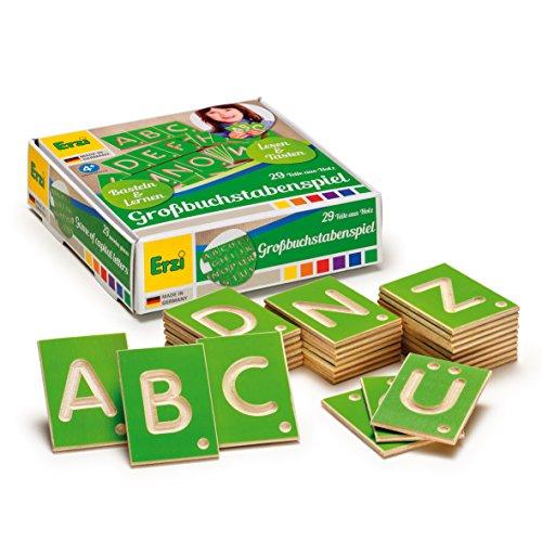 Erzi 42012 Lernspiel Großbuchstaben aus Holz, Lernmaterial, Kreativität