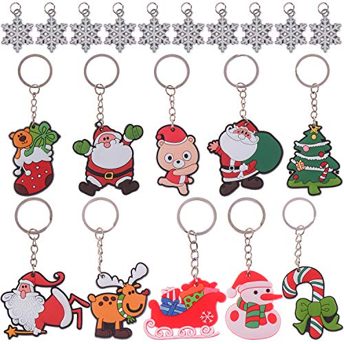 Christmas Keychains Including Santa, Reindeer and Christmas Tree Key Chains with Replacement Snowflake for Christmas Party Supplies, 20pcs in Total