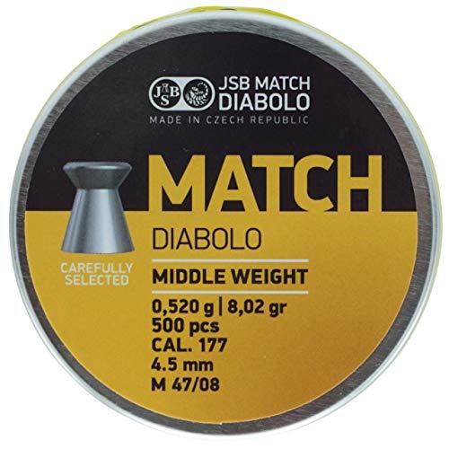 JSB Match Middle ISSF Diabolo Kaliber 4,5 mm / .177 Luftgewehr Luftpistole Munition - 500 Stück