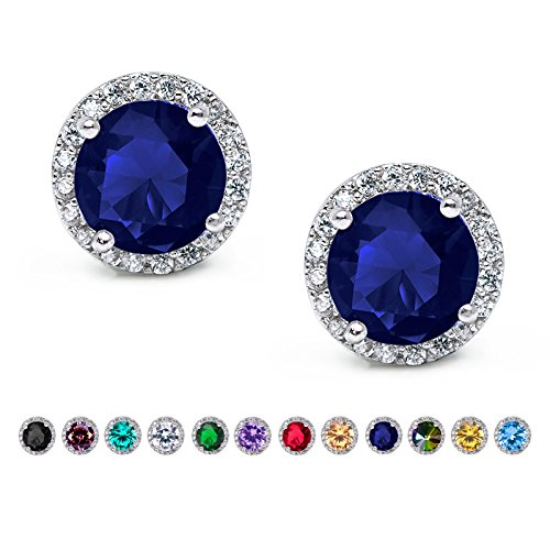 SWEETV Hypoallergenic Stud Earrings for Women-10mm Round Cubic Zirconia Ear Studs- Silver Plated Jewelry Gifts for Women & Girls,Blue Sapphire