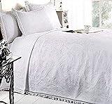 New Mafalda weiß Tagesdecke Portugiesisch Stil Sofa Bett Überwurf Mix Baumwolle, Weiß, Einzelbett