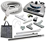 Plastiflex Comet Central Vacuum Kit with Hose, Power Head & Tools - Works with All Brands of Central Vacuum Units (Light Gray, 35')