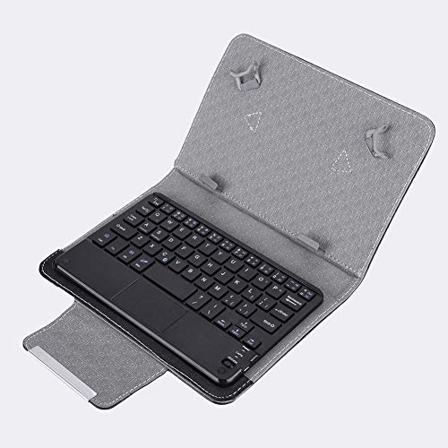 T opiky Funda Protectora de PU para Tableta de 7 '' - 7.9 '' + para Teclado Bluetooth Compatible para Android/para iOS/para Win tabletas y teléfonos móviles.(Black Case+Touch Keyboard)