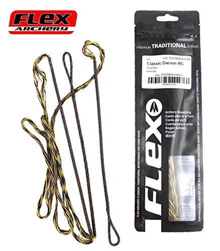 Sehne Flex Dacron Recurve Classic schwarz/gelb 46-72 Zoll 10-16 Strang (50 Zoll - 14 Strang)