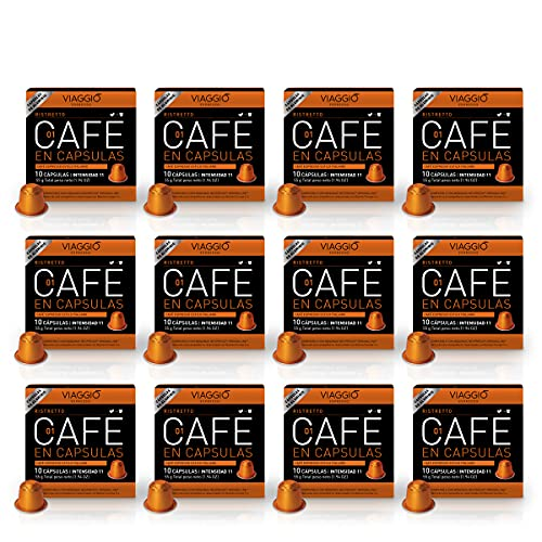 Viaggio Espresso Cápsulas de café compatibles con máquinas Nespresso Ristretto (120 Cápsulas)
