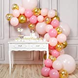 PartyWoo Ballon Rose Or, 66 pcs Ballon Rose, Ballon Doré, Ballon Pastel Rose, Ballon Confettis Or, Ballons Rose Or pour Decoration Anniversaire Fille, Deco Bapteme Fille, 4 pcs Ballon Géants Inclus