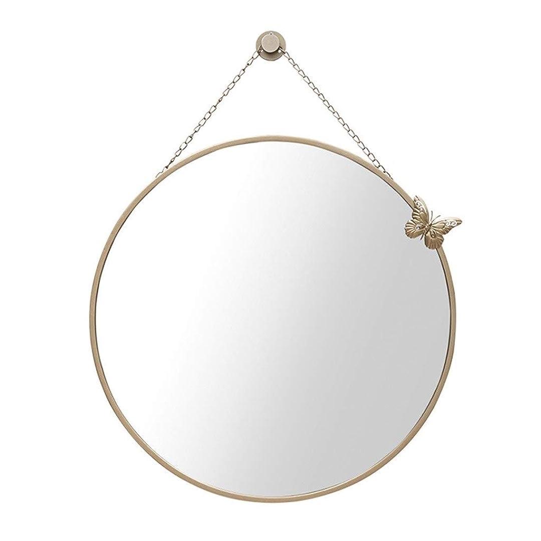 耳浸食関係ないTYJ-JP メイクアップミラー、バスルームミラーラウンドミラー浴室鏡、トイレ浴室壁掛け鏡ウォールステッカーのシンプル (Color : Gold, Size : 40cm)