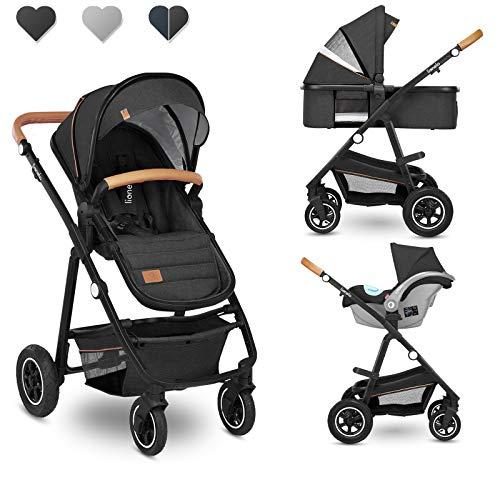 Lionelo Amber Coche de bebé multifuncional 2 en 1 Conjunto silla de paseo con el Asiento de Cubo e Capazo Manillar regulable Bolsa Mosquitero Protector de lluvia (Gris oscuro)
