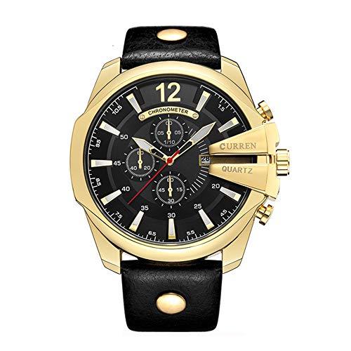 CURREN Watches Men Popular Brand Leather Strap Big Dial Analog Quartz Watch...