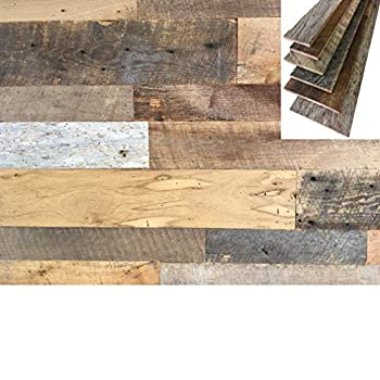 Vintage Harvest Reclaimed Barn Wood Wall Planks - Naturally Weathered Rustic Kiln Fired Barn Wood Panels VOC Free and Easy to Install DIY One-of-a-Kind Rustic Look for Your Home  10 Square Feet