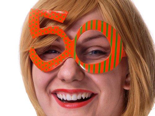 PartyDeco- Occhiali a Forma di Numero 50, Colore Arancione, OKR9-50