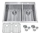 BILLION 33'x22'x10' Inch 60/40 Double Bowl Drop-in Topmount Heavy Gauge Handmade Stainless Steel Kitchen Sink, R-10 Radius Corners Overmount Sink 9 Gauge Deck + 16 Gauge Body