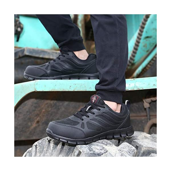 Doya Men's Work Safety Shoes Anti-Smash and Anti-Puncture Safety Shoes Mesh Breathable Ultra-Light Comfortable Steel Toe Sneaker