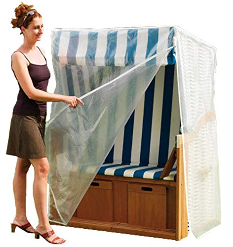 SAUERLAND Strandkorbhülle für 2 Sitzer XXL, Strandkorbhaube transparent, Schutzhülle aus Gitterfolie