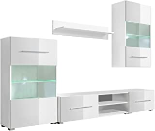 comprar comparacion vidaXL Mueble de Pared 5 Unidades Gabinete TV con Iluminación LED Color Blanco