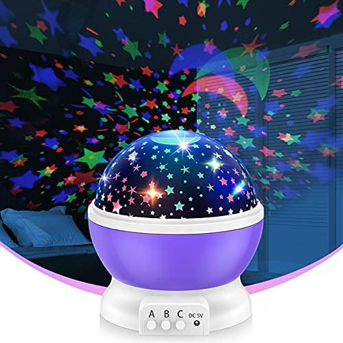 Toyze 2-10 Jahre Mädchen Geschenk,Nachtlicht Kind Geschenke für Kinder 2-10 Jahre Nachtlampe Kinderzimmer Sternenhimmel Projektor Spielzeug für Mädchen 2-10 Jahre Kinder Spiele ab 2-10 Jahre (Lila)