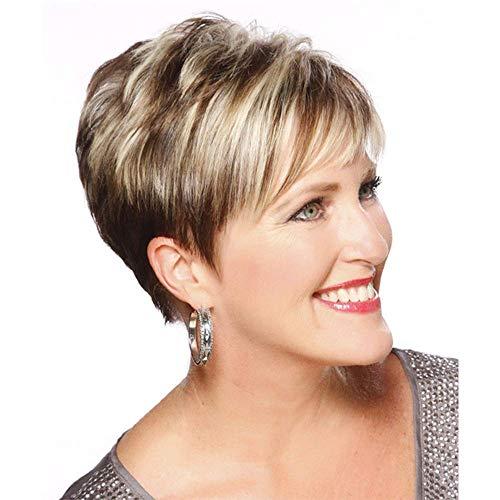 ZHANGYY Femelle Courte Pixie Coupe Perruques de Cheveux Humains pour Les Femmes Perruques Blondes avec des Perruques de Racine Brune