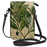 Petit sac à bandoulière léger avec imprimé botanique, sur une vieille page de livre, pour téléphone portable, porte-monnaie pour femme et fille avec transport pratique