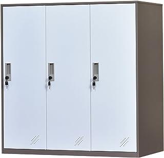 Armario de almacenamiento de oficina de metal de 3 puertas, armario de almacenamiento de bolsa de teléfono de oficina de acero con cerradura y estantes, gabinete de zapatos de sala de estar (3D)