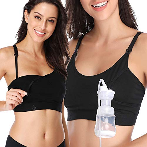 Lupantte Hands Free Pumping Bra 2 Pack, Comfortable Breast Pump Bra with Pads, Adjustable Nursing Bra for Pumping, Black Classic-Fitting Bra, X-Large