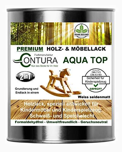 Weisslack für Kinderspielzeug und Kindermöbel 750ml. DIN EN71/3 Speichelecht schweißecht Weiss Möbellack Holzlack (SEIDENMATT)