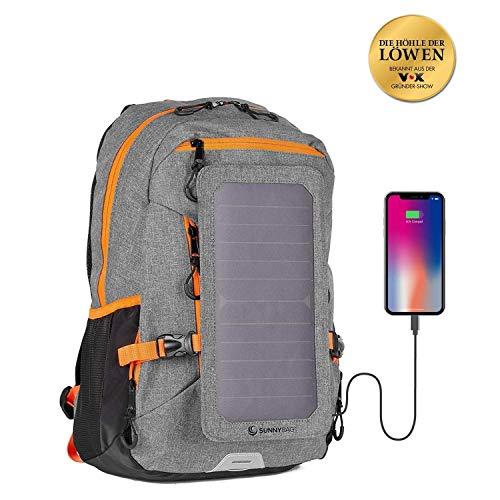 Sunnybag® EXPLORER+ Solar-Rucksack mit abnehmbarem 6 Watt Solarpanel - Smartphone, Tablet, Smartwatch, Powerbank unterwegs mit Solarenergie laden - mit Laptopfach und 15l Volumen - grau-orange