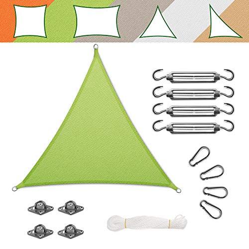 casa pura Voile d'Ombrage Triangulaire - Toile + Kit de Fixation Inclus   Toile Ombrage Imperméable   Voile Résistante Pluie/UV en 7 Tailles   Verte - 3x3x3m + Accroche